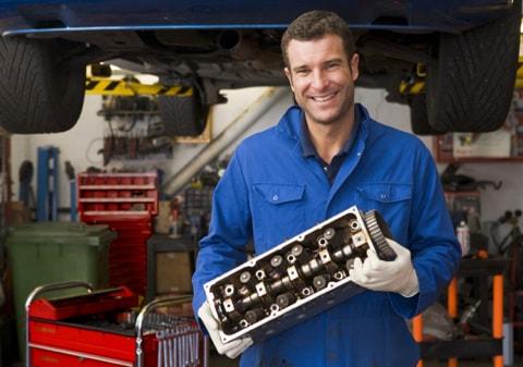 Garage mechanic in Wimbledon doing a car service